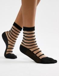 Wolford Isabella Stripe Socks - Black