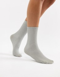 Wolford Joan Metallic Socks - Silver