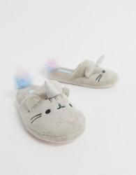 Women'secret Pusheen Cat kittycorn slippers in grey - Multi