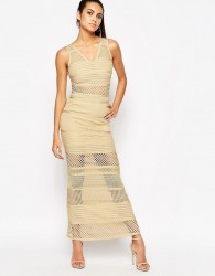 WOW Couture Bandage Dress With Mesh Inserts - Beige