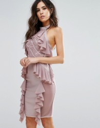 WOW Couture Diamond Mesh Bandage Dress With Ruffle Detail - Pink