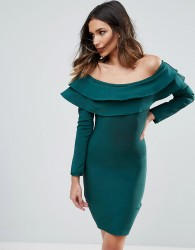 WOW Couture Exaggerated Frill Off Shoulder Mini Bandage Bodycon Dress - Green