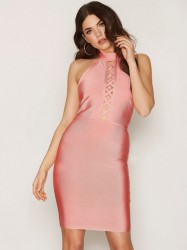 WOW Couture Front Strap Mini Dress Kropsnære kjoler Salmon