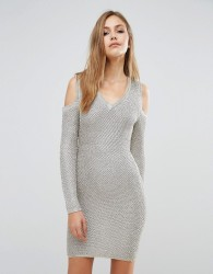 WOW Couture Long Sleeve Metallic Sweater Dress - Gold