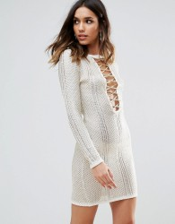 WOW Couture Metallic Crochet Dress With Lace Up Detail - White