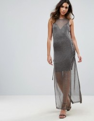 WOW Couture Metallic Crochet Knitted Lace Up Side Maxi Dress - Black