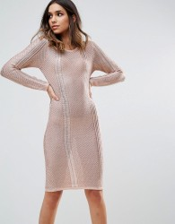 WOW Couture Metallic Crochet Knitted Midi Dress - Gold