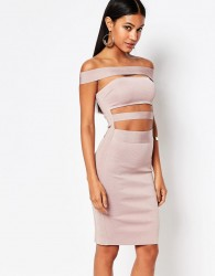 WOW Couture Off Shoulder Bandage Dress - Pink
