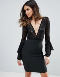 WOW Couture Plunge Wrap Front Lace Top Bandage Bodycon Dress - Black