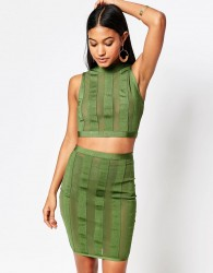 WOW Couture Stripe Crop And Skirt Set - Green