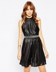 Wyldr Backroom Skater Dress In Sequins - Black