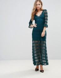 Wyldr Light Music Knitted Lace Maxi Dress With Seperate Slip - Green