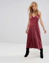 Wyldr Moon Night Velvet Midi Dress With V Neckline And Lace Trim Insert - Pink