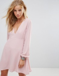 Wyldr Ophellia Tea Dress With Low V Neckline And Tie Sleeves - Pink