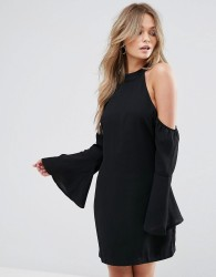 Wyldr Over It Cold Shoulder Shift Mini Dress - Black