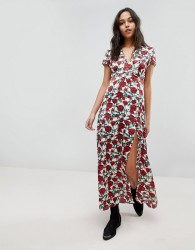 Wyldr Rose Printed Maxi Dress With Capped Sleeves And Deep V Neckline - Multi