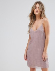 Wyldr Spirit Lights Starlight Stud Textured Slip Dress With Thin Straps - Pink