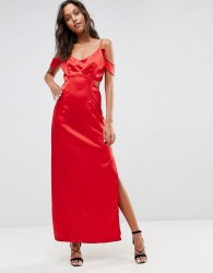 Wyldr Windslow Corvette Satin Dress With Off The Shoulder Frill And Waist Cut Out - Red