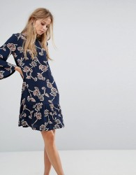 Y.A.S Allover Floral Printed Shift Dress - Blue