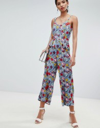 Y.A.S Bold Floral Wide Leg Jumpsuit With Ruffles - Multi
