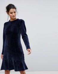 Y.A.S Chenille Ruffle Drop Hem Dress - Blue