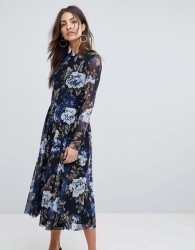 Y.A.S Floral Mesh Skater Dress - Multi