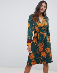 Y.A.S floral spotted wrap dress - Multi