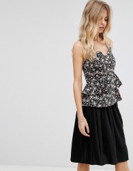 Y.A.S Flower Ditsy Print Strap Top - Black