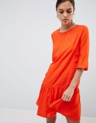 Y.A.S Fluted Sleeve Drop Hem Dress - Orange