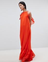 Y.A.S Halter Maxi Dress With Tiered Hem - Orange