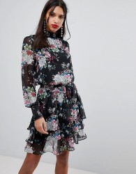 Y.A.S High Neck Bold Floral Dress - Multi