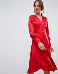 Y.A.S jacquard button through dress - Red