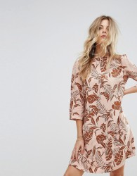 Y.A.S Long Sleeved Shift Dress in Palm Print - Multi