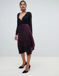 YAS midi wrap skirt in flocked velvet - Multi