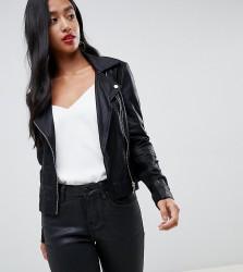 Y.A.S Petite Leather Biker Jacket - Black
