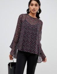 YAS printed blouse with fluted sleeve detail - Multi