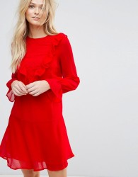 Y.A.S Riku Long Sleeve Ruffle Dress - Red
