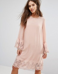 Y.A.S Shift Dress With Broderie Fluted Sleeve - Pink