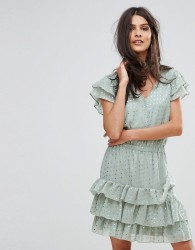 Y.A.S Snowa Gold Polka Dress - Green