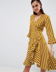 Y.A.S Striped Wrap Dress With Asymetric Ruffle Hem - Multi