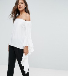 Y.A.S Studio Tall Anru Long Sleeve Flounce Detail Top - White
