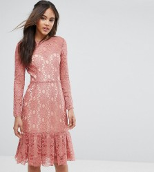 Y.A.S Studio Tall Cadisa All Over Premium Lace Skater Dress - Pink