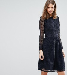 Y.A.S Tall Hemp All Over Lace Long Sleeve Skater Dress - Black