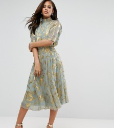 Y.A.S Tall High Neck Skater Dress With Gold Foil Print - Multi