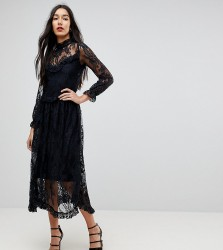 Y.A.S Tall Lace Dress With Ruffle Detail - Black