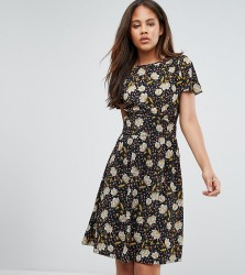 Y.A.S Tall Printed Tea Dress - Black