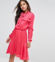Y.A.S Tall Ruffle Detail Midi Dress With Neck Tie - Pink
