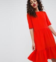 Y.A.S Tall Sadur Tiered Shift Dress - Red