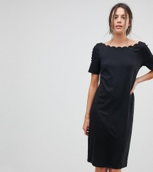 Y.A.S Tall Scallop Shift Dress - Black