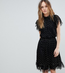 Y.A.S Tall Spotty Mesh Dress - Black